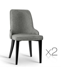 2 Fabric Dining Chairs - Grey