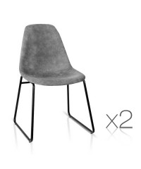 2 PU Leather Dining Chairs - Grey