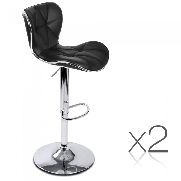 2 Pu Leather Kitchen Bar Stools Black