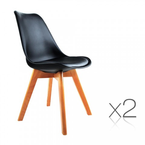 2 x Eames Inspired Black PU Dining Chairs