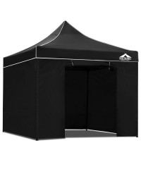 3 x 3 Pop Up Gazebo Hut with Sandbags - Black