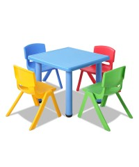 5 Pcs Kids Table and Chairs Playset - Blue