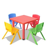 5 Pcs Kids Table and Chairs Playset - Red