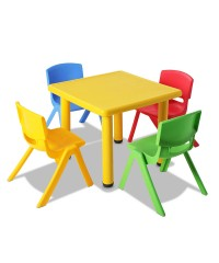 5 Pcs Kids Table and Chairs Playset - Yellow
