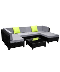 6 Seater Outdoor Lounge Set - Black
