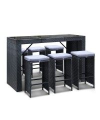7 Piece Outdoor Bar Table and Stools Set