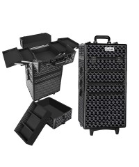 7 in 1 Portable Make Up Cosmetic Beauty Case - Diamond Black
