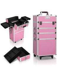 7 in 1 Portable Make Up Cosmetic Beauty Case - Pink