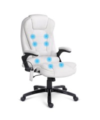 8 Point Executive Massage Office Chair - White