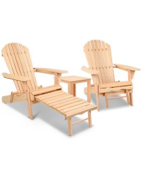 Adirondack 2 x Chairs and Ottoman Set