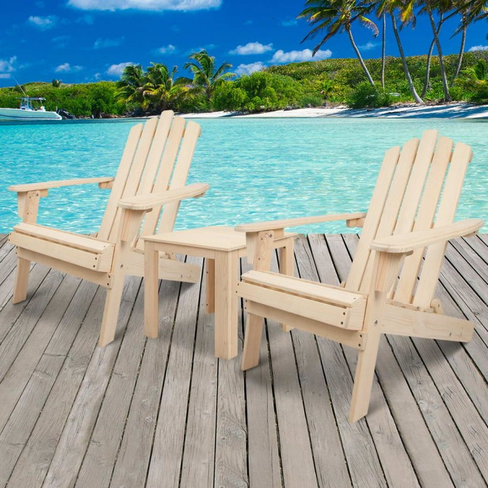 Adirondack Chairs and Side Table 3 Piece Set Natural