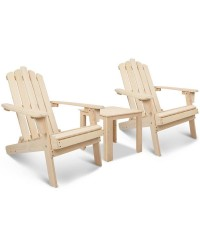 Adirondack Chairs and Side Table 3 Piece Set - Natural