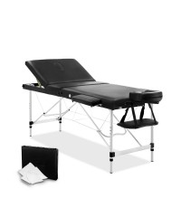Aluminium 3 Fold Massage Table 60cm - Black