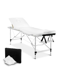 Aluminium 3 Fold Massage Table 60cm - White