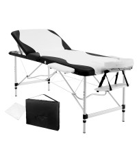 Aluminium 3 Fold Massage Table 75cm - Black White