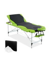 Aluminium 3 Fold Massage Table 75cm - Green Black