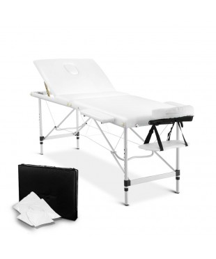 Aluminium 3 Fold Massage Table 75cm - White