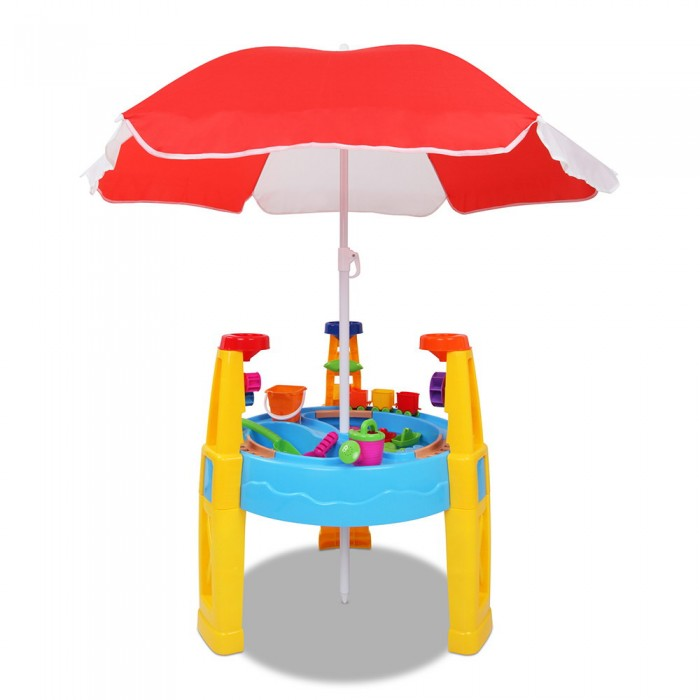 kids sand and water table play set with umbrella. Black Bedroom Furniture Sets. Home Design Ideas