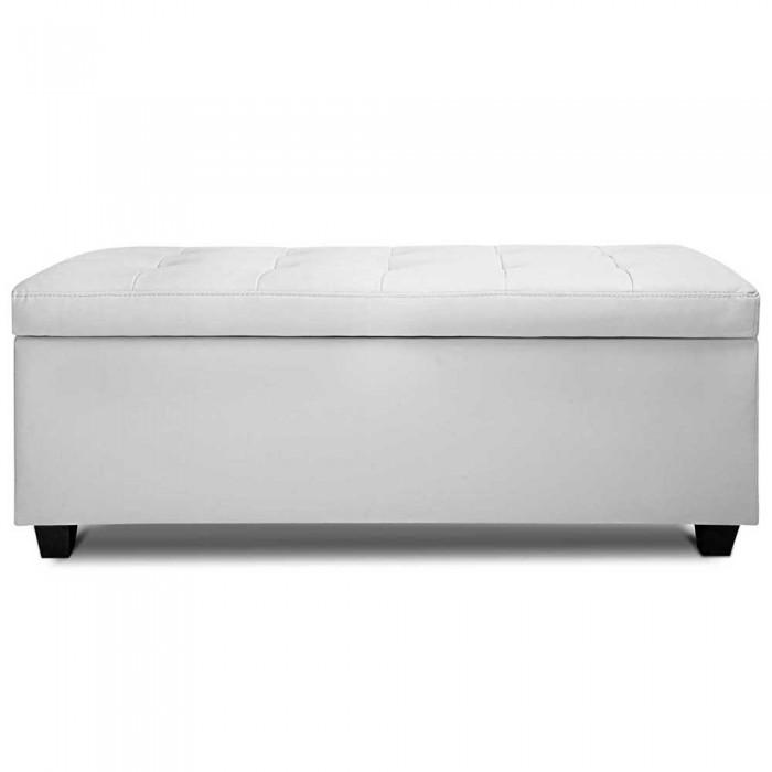PU Leather Storage Ottoman Large   White