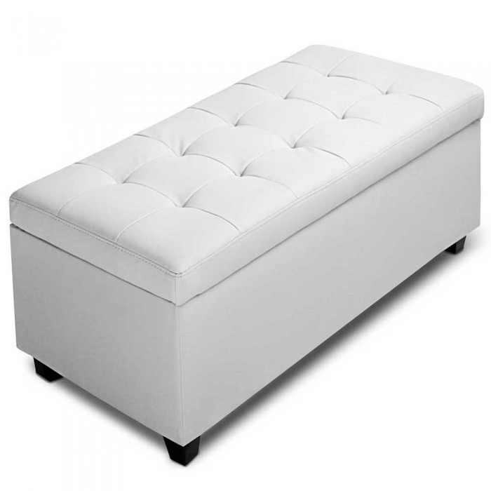 pu leather storage ottoman large white. Black Bedroom Furniture Sets. Home Design Ideas