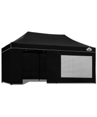 Pop Up 3 x 6 Gazebo Hut with Sandbags - Black