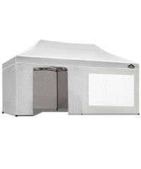 Pop Up 3 x 6 Gazebo Hut with Sandbags - White