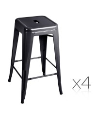 Set of 4 Kitchen Bar Stool 66cm - Black