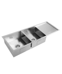Stainless Steel Double Kitchen Laundry Sink with Draining Board - 1114 x 450 mm