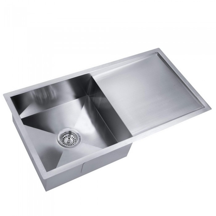 Stainless Steel Kitchen Laundry Sink With Draining Board   870 X 450 Mm