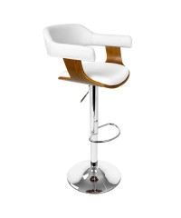 White PU Leather Wooden Bar Stool
