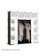 16 Cube Storage Cabinet Wardrobe - Black and White