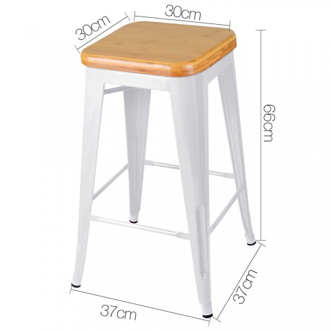 2 X Steel Kitchen Bar Stools With Bamboo Seat 66cm White