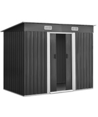 2.35 x 1.31M Steel Garden Shed - Grey