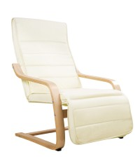 Bentwood Fabric Armchair with Footrest - Beige