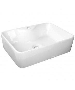 Ceramic Rectangle Wash Basin - White