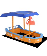 Keezi Boat Shaped Sand Pit With Canpoy