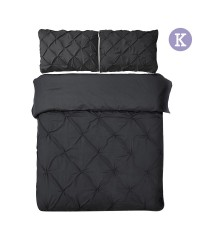 King - 3-piece Quilt Set - Black