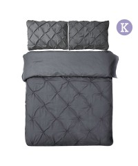 King - 3-piece Quilt Set - Charcoal