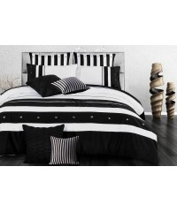 King - Black White Striped Quilt Cover Set