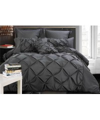 King - Charcoal Diamond Pintuck Quilt Cover Set