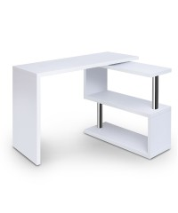 Rotatable Corner Desk with Bookshelf - White