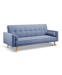 3 Seater Fabric Sofa Bed - Blue