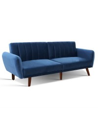 Artiss 3-Seater Sofa Bed - Blue
