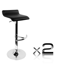 2 PVC Leather Bar Stool - Black