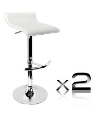2 PVC Leather Bar Stool - White