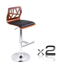 2 x Wooden Bar Stool Padded Seat - Black