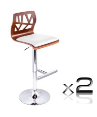 2 x Wooden Bar Stool Padded Seat - White