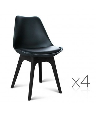 4 Replica Eames DSW PU Leather Chairs - Black