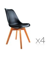 4 x Eames Inspired Black PU Dining Chairs