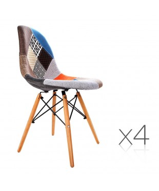 4 x Eames Inspired Fabric Dining Chairs
